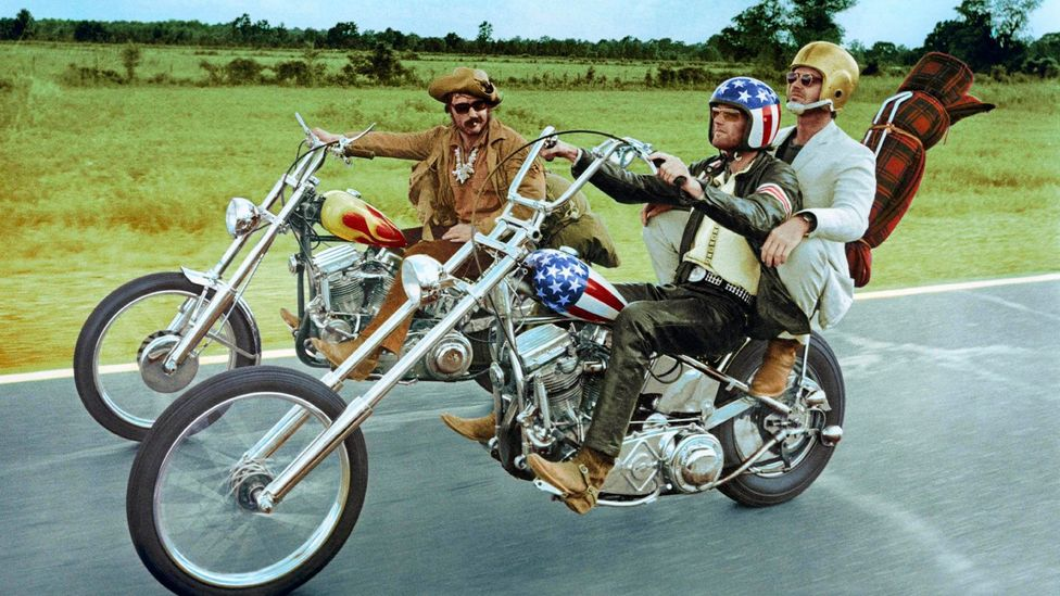 Peter Fonda, Jack Nicholson and Dennis Hopper starred in Easy Rider, which featured an acid trip and a shoot that was awash with drugs (Credit: Getty)
