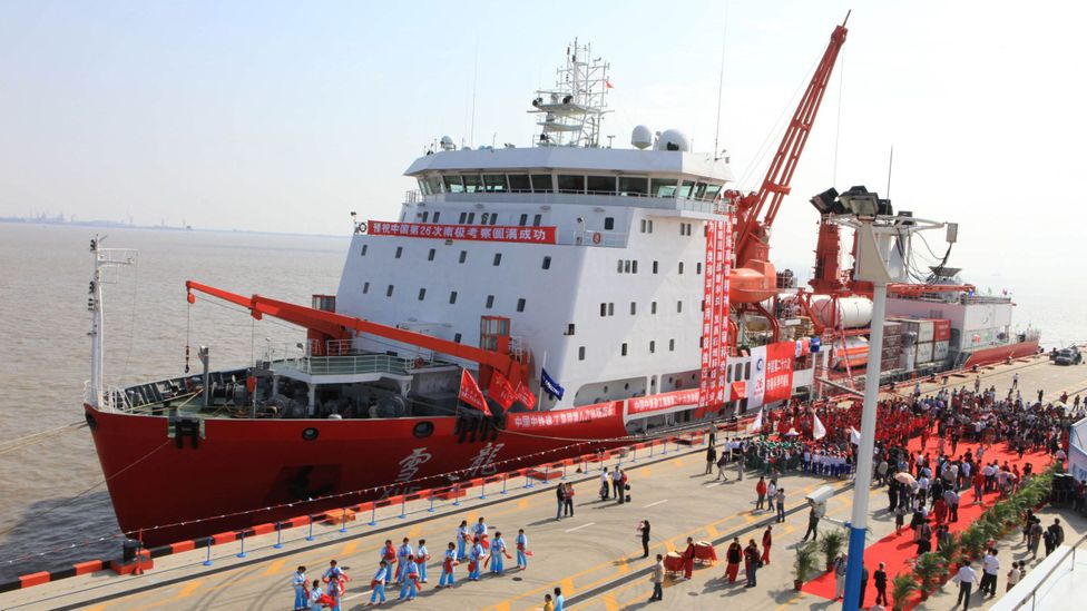 With great fanfare, China launches one of its vessels to Antarctic waters (Credit: Getty Images)