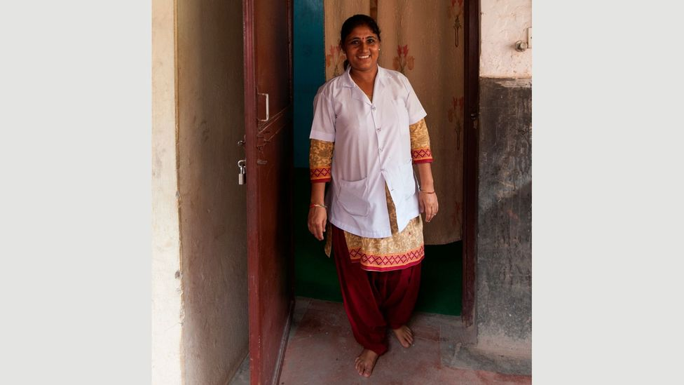 Counsellor Radha Paudel stands in front of the room where she meets withpatients (Credit: Bunu Dhungana)
