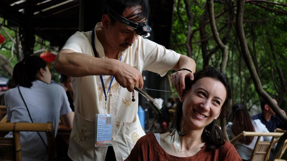 In Chengdu, China, ear cleaning is a unique local tradition that is believed to date back many centuries (Credit: Carla Drago)