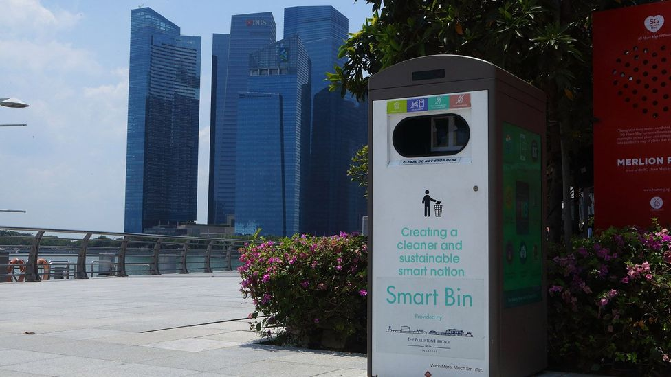 Smart bins which can act as wi-fi hot spots and send alerts when they need to be emptied (Credit: Tim McDonald)