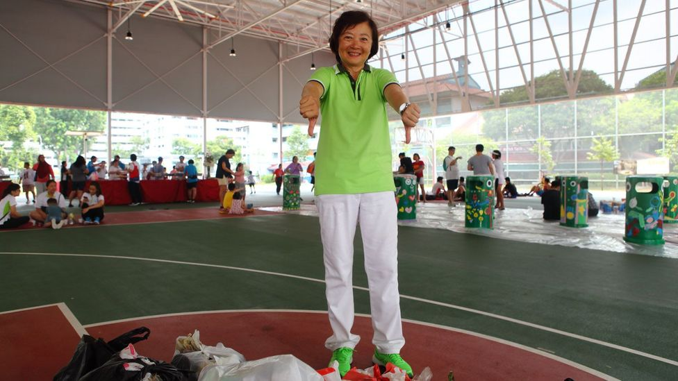 Lee Bee Wah is the local MP for Nee Soon joins the clean-up day in Khatib at least once a month. She encourages her constituents to get involved (Credit: Tim McDonald)