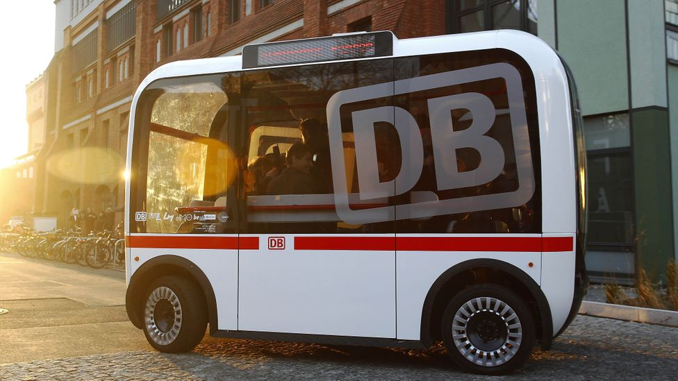 A self-driving public bus in Berlin, Germany is a collaboration between Deutsche Bahn and Berlin's Technical University at the university's EUREF campus (Credit:Getty Images)
