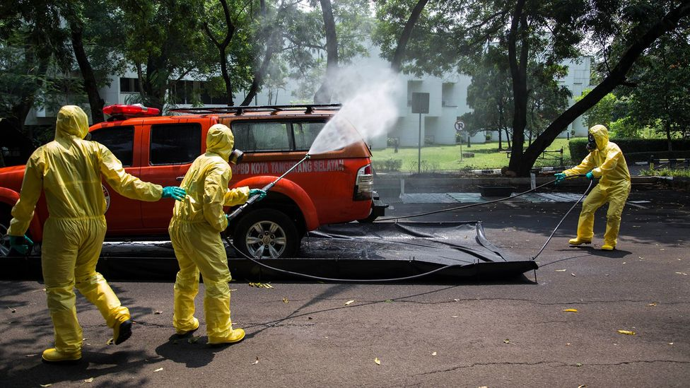 Flu containment drill in Indonesia (Credit: Getty Images)