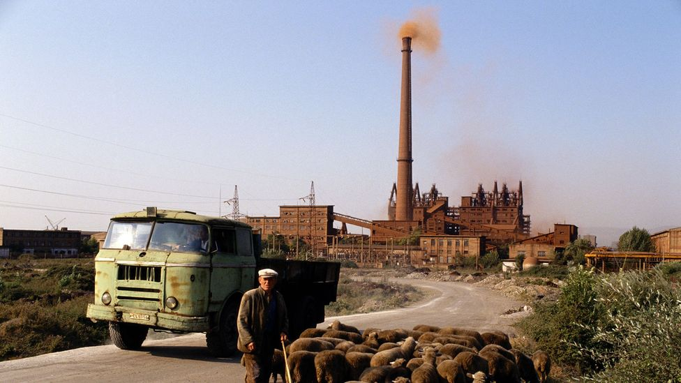 The pollution-spewing steelworks in Elbasan produced steel for bunker production (Credit: Getty Images)