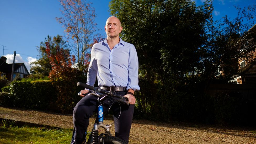 Barney Whiter, now 48, cycled to the office every day to save money for early retirement. He was able to amass enough to reitre at 43 (Credit: Chris Mann)