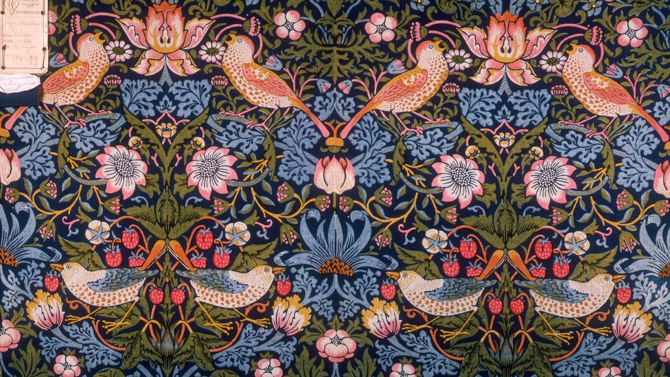 The classic Strawberry Thief by William Morris features natural motifs typical of the designer (Credit: Getty Images)