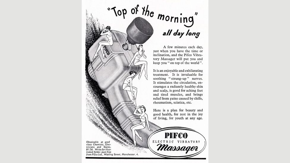 Adverts like this one, from 1953, marketed vibrators directly to women as a way to sort out 'strung-up' nerves (Credit: Alamy)