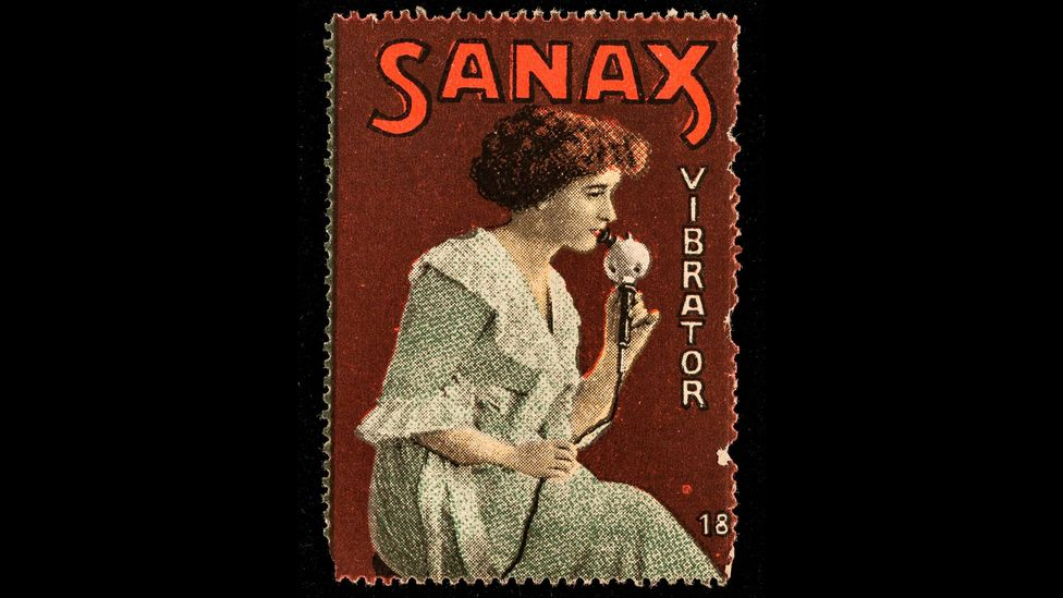 This advert from the early 1900s was one of a series that showed the Sanax device being used by both men and women on their arms, legs, chest and face (Credit: Science Museum)