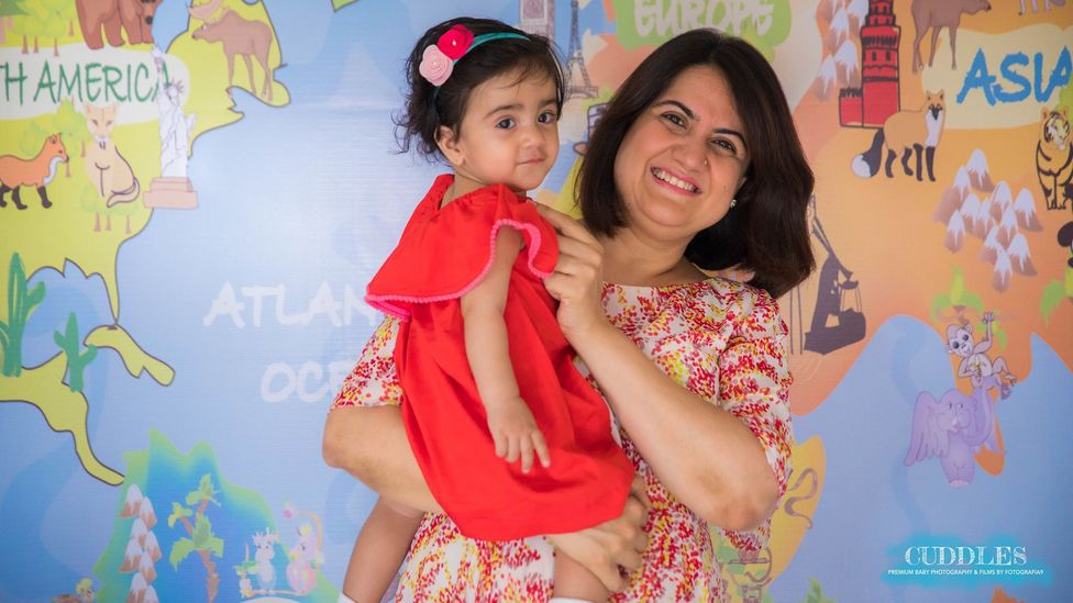 "Bhavna Thakur, 43, lives with her husband and one-year-old daughter in Mumbai. She says she is often the ""oldest mother in the toddler park"" (Credit: Bhavna Thakur)"