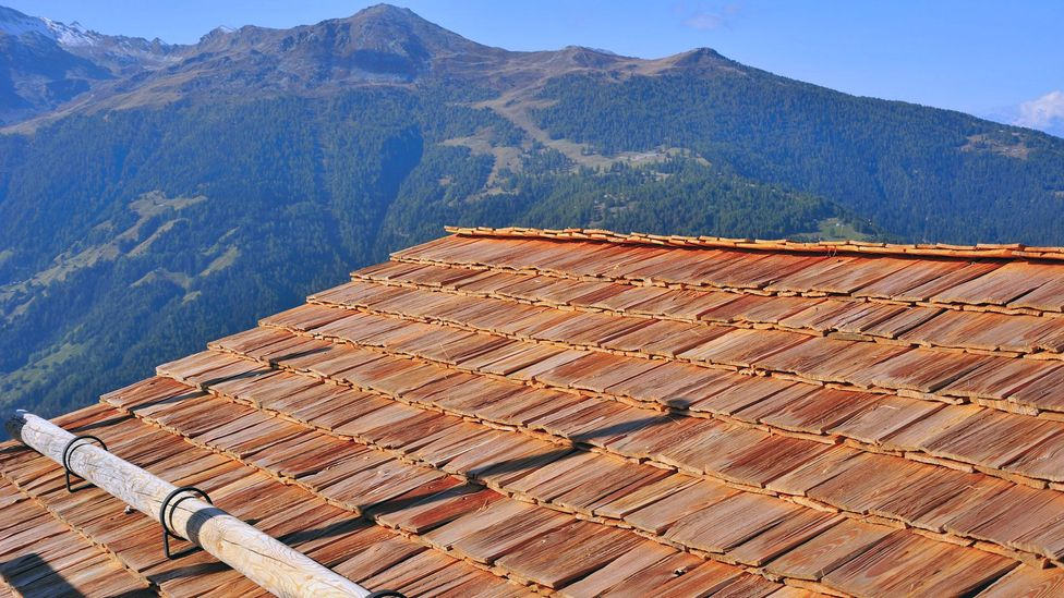 The Swiss art of tavillonnage, or wood-shingled roofs, dates to Gallo-Roman times (Credit: Alistair Scott/Alamy)