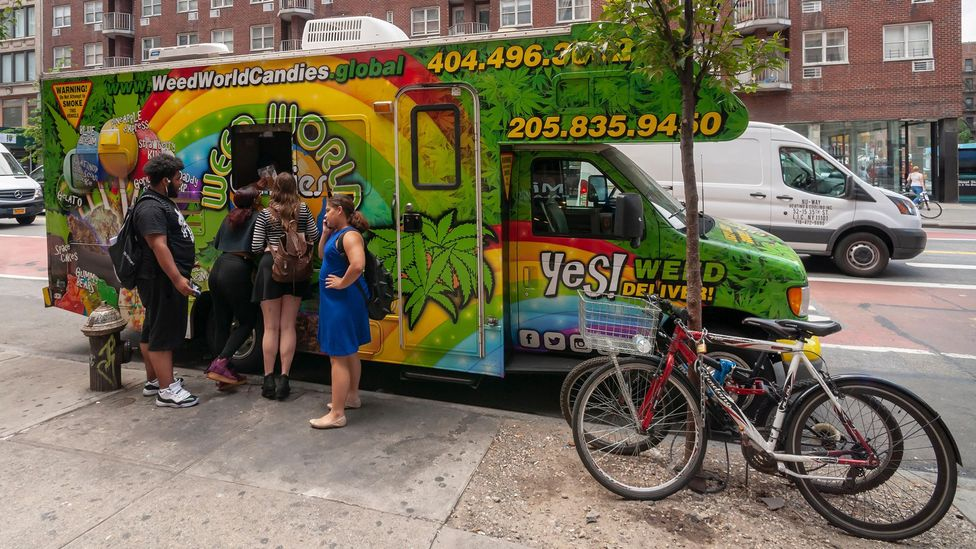 The 'Weed World Candies' truck sells products with CBD on the streets of New York City (Credit: Alamy)