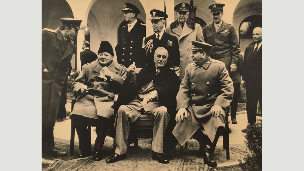 Samary Gurary, Churchill, Roosevelt and Stalin in Yalta, 1945 (Credit: Copyright the artist courtesy Atlas Gallery)