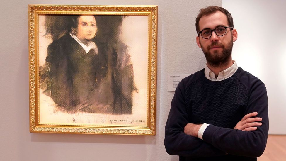 Pierre Fautrel of Obvious poses with the artwork, which sold at Christies for $430,000 (£335,000) in October 2018 (Credit: Getty)