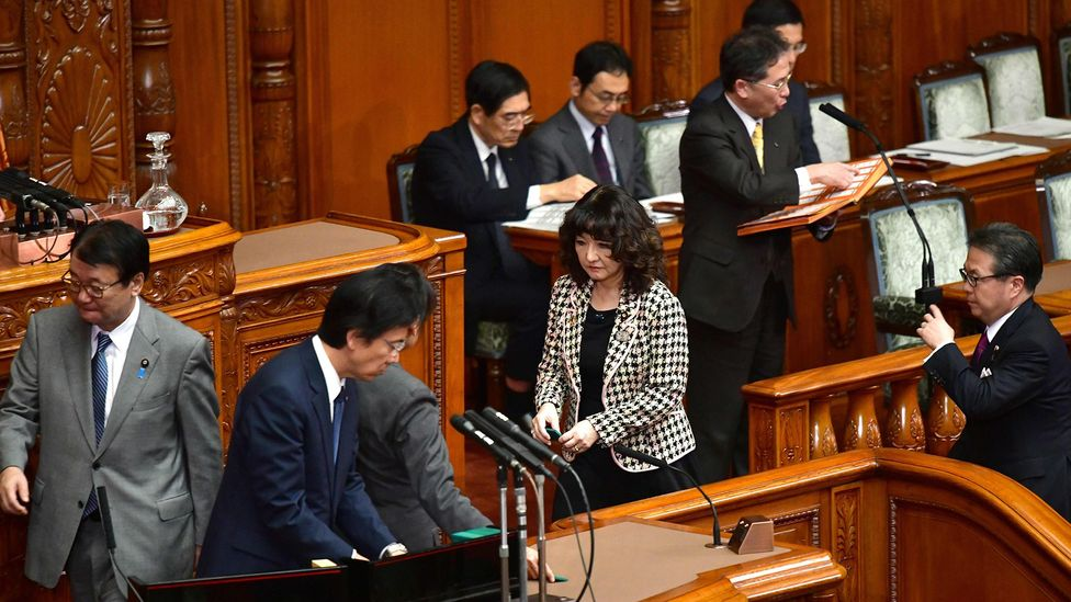 A scene from Tokyo's parliament on 7 December 2018, when it passed an historic bill to bring in more foreign, blue-collar workers than ever (Credit: Getty Images)