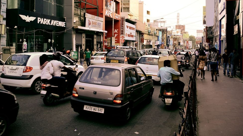 There are hopes that new technology can ease traffic jams in already congested cities like Bengaluru, India, where vehicles often move at a walking pace (Credit: Getty Images)