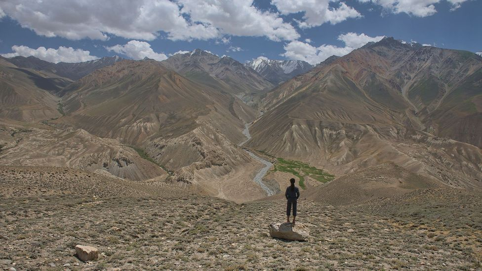 View of the Pamir Mountains in Tajikistan and the Hindu Kush in Afghanistan