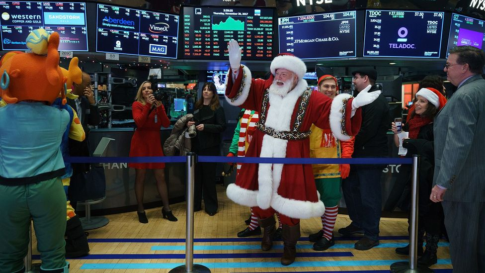 """The so-called """"Santa Claus rally"""" is one of many seasonally timed trends in the stock market (Credit: Getty Images)"""