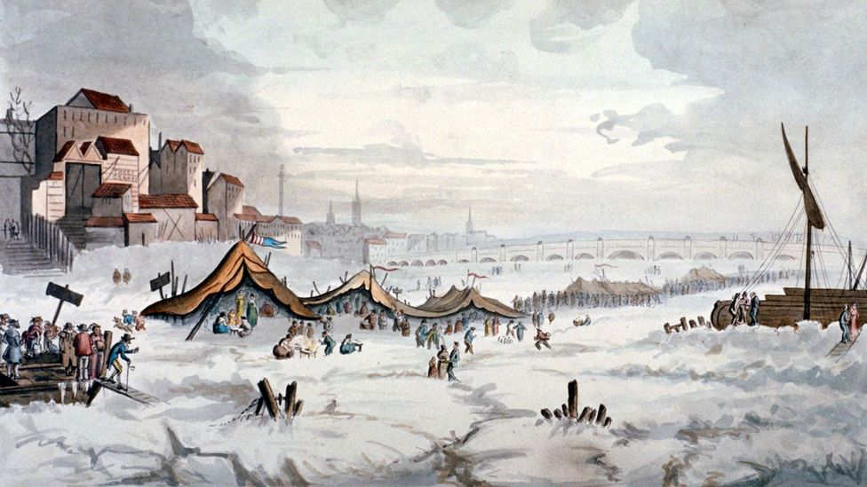 When the Thames froze over in 1814, London celebrated its final frost fair on the river (Credit: Alamy)