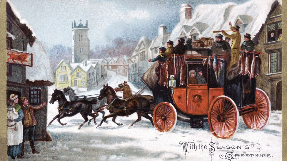 An 1880 Christmas card features a snowy village (Credit: Alamy)