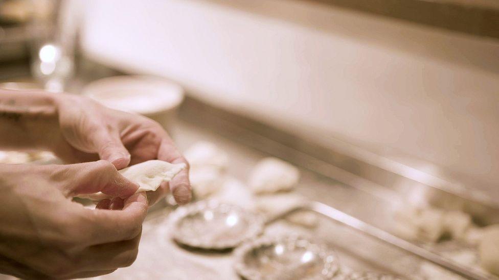 The crimp for sealing the dough is an important pierogi-making step (Credit: Paul Szynol)
