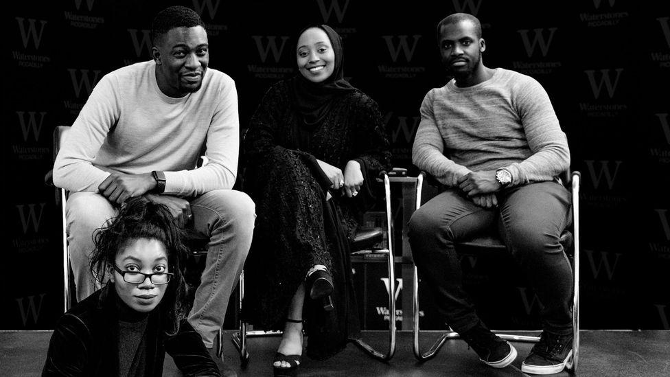 Mostly Lit is hosted by Alex Reads, Raifa Rafiq and Derek Owusu and produced by Clarissa Pabi (Credit: Richard Harris)
