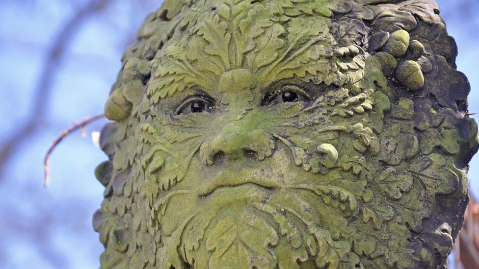 Green Man stone carving