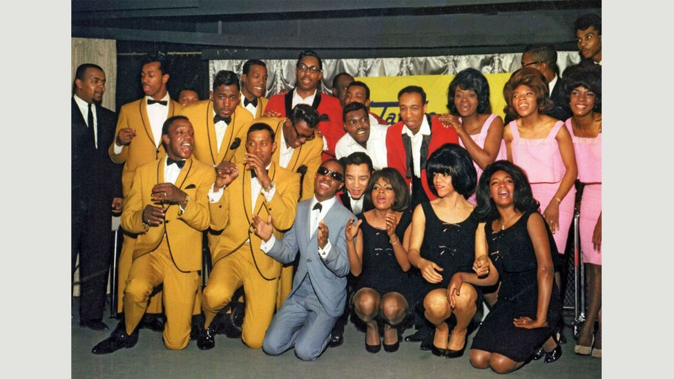 The Temptations, The Miracles, Stevie Wonder, Martha and the Vandellas and The Supremes at EMI Records in March 1965, for the UK launch of the Tamla Motown label