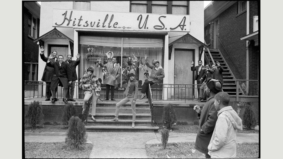 With The Supremes, Berry Gordy hails members of the Motown house band, left, and his Holland-Dozier-Holland hitmakers in 1965
