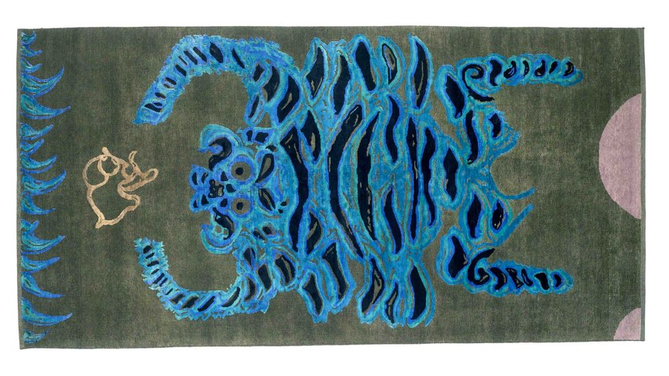 Water Tiger, a hand-made wool-and-silk rug by contemporary artist Gary Hume was created for Tomorrow's Tigers (Credit: Dan Fontanelli)