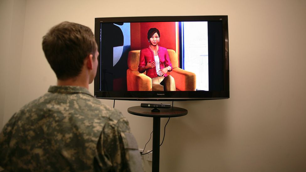 A virtual therapist that analyses the body language and tone of voice used by patients can identify signs of depression or PTSD (Credit: USC Institute for Creative Technologies)
