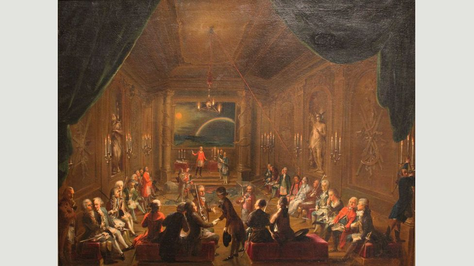 A meeting of a Viennese Masonic lodge by Ignaz Unterberger (Credit: Wikimedia)