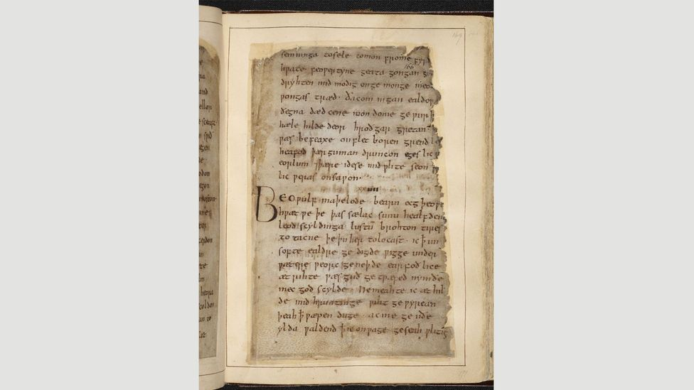 A page from the only manuscript of Beowulf known to exist (Credit: British Library Board)