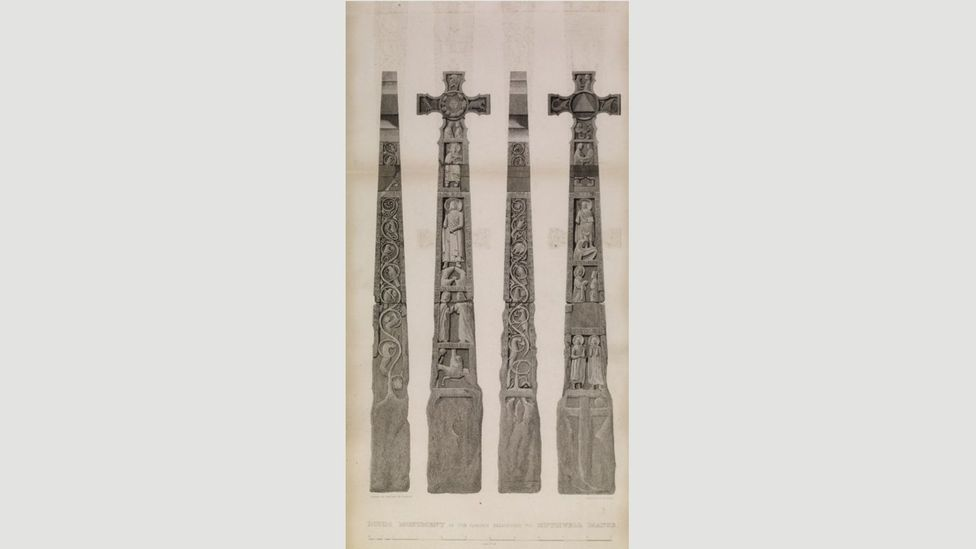 A 19th-Century engraving of the Ruthwell Cross, Scotland (Credit: RCAHMS)