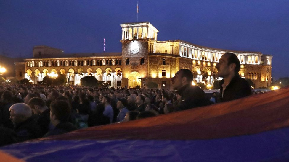 In spring 2018, young activists organised wide-scale protests across Armenia against political corruption (Credit: Artyom Geodakyan/Getty Images)