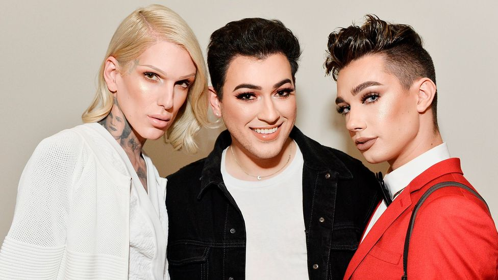 Jeffree Starr, Manny Gutierrez and James Charles at the launch of KKW Beauty in Los Angeles (Credit: Getty Images)