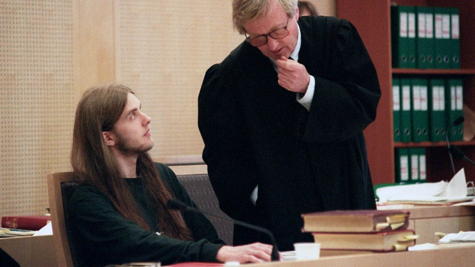 Black-metal musician Varg Vikernes (left) pictured during the 1994 trial for the murder of Øystein Aarseth (Credit: Getty Images)