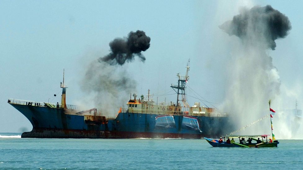 The authorities in Indonesia have taken a zero tolerance approach to illegal fishing, destroying another notorious illegal fishing vessel, the F/V Viking (Credit: Getty Images)