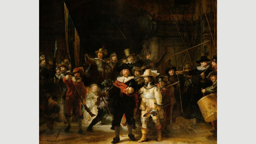 Rembrandt's most masterly composition,  The Night Watch, 1642, uses light to lend the scene an ethereal quality (Credit: Rijksmuseum)