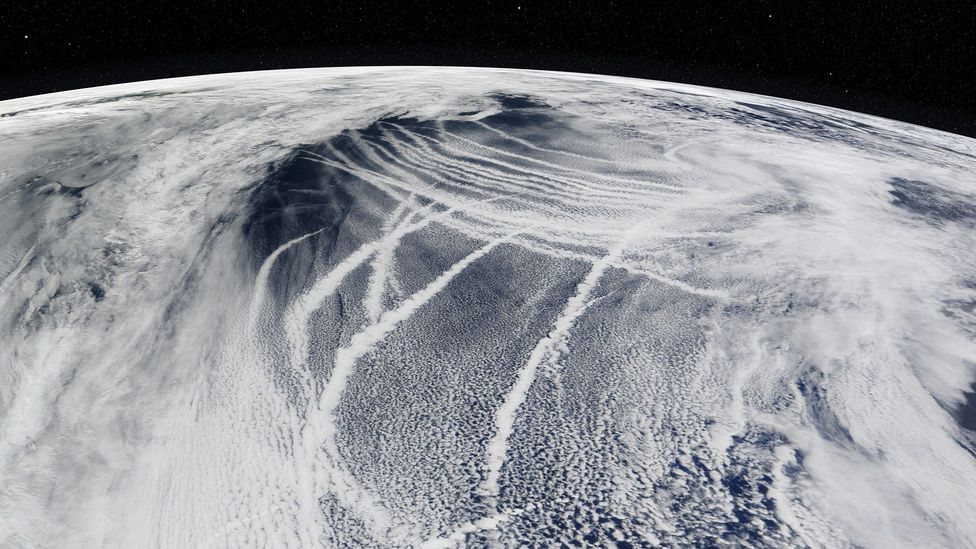 The pollution trails left by ships on the ocean naturally brighten the clouds above (Credit: Nasa Goddard Space Flight Center)