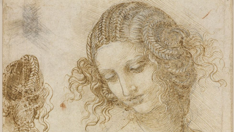 In Study for the head of Leda, c 1506, Leonardo da Vinci reveals the spirals of a seashell in her hair (Credit: Royal Collection)