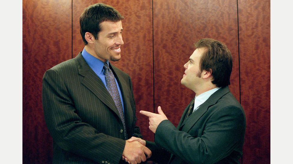 Tony Robbins made his way from infomercials to the silver screen, here with Jack Black  in 2001's Shallow Hal (Credit: Alamy)