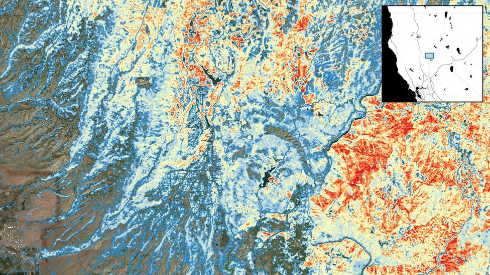 Mapping areas at highest risk of wildfire, shown in red in this map of Paradise, California, can help authorities take steps to stop blazes from spreading (Credit: SilviaTerra)