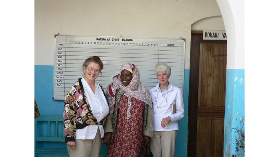 Louise Jilek-Aall, pictured here (left) in 2009, has conducted much of the work on nodding syndrome (Credit: Provision Charitable Foundation)