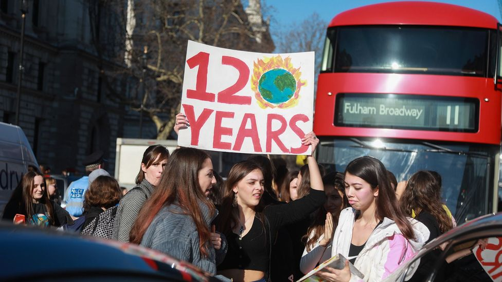 UK students went on strike in February 2019 in protest of climate change inaction. Our ability to anticipate future scenarios is a capacity that sets humans apart (Credit: Getty)