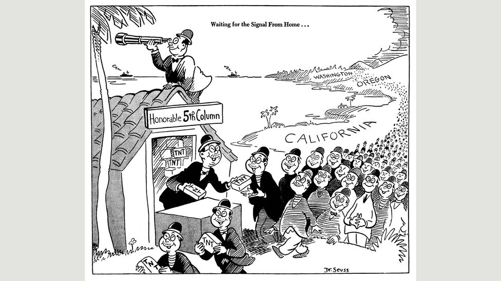 Seuss cartoon for PM, February 1942 (Credit: UC San Diego Library)