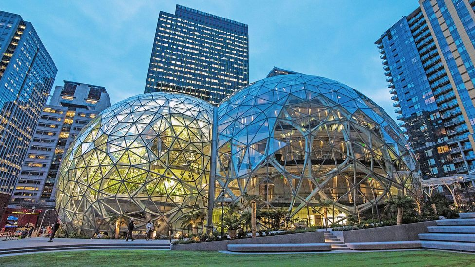 Amazon's spheres, a series of large glass structures at its Seattle headquarters are designed to help spark creativity (Credit: Alamy)