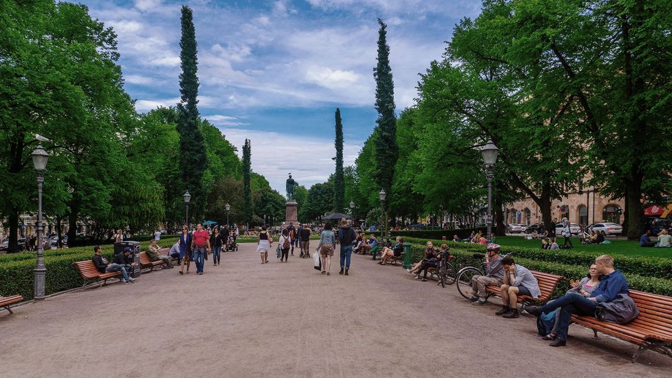 Esplanade Park in Helsinki, Finland. One Finnish study found a short walk in the park as beneficial as specific relaxation exercises (Credit: Alamy)