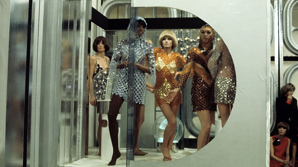 Paco Rabanne's metallic, chainmail dresses encapsulated the space-age look of the 1960s (Credit: Getty Images)
