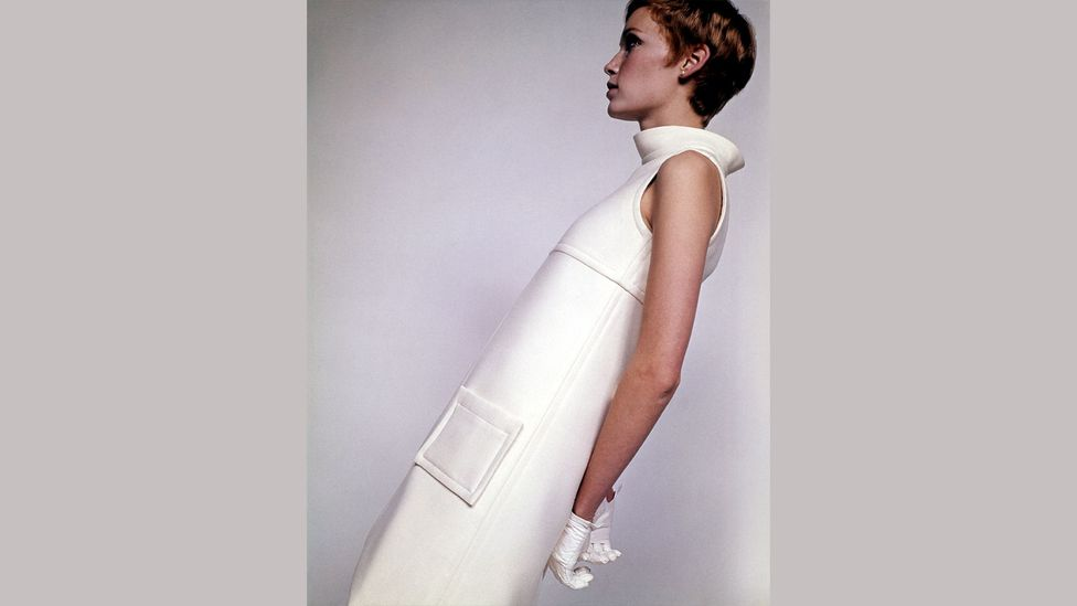 Mia Farrow in a modernist Courrèges outfit, photographed by David Bailey for British Vogue in 1967 (Credit: Getty Images)